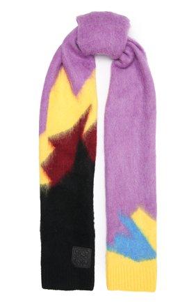 Женский шарф LOEWE сиреневого цвета, арт. F655257X18   Фото 1 (Материал: Текстиль, Синтетический материал)