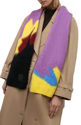 Женский шарф LOEWE сиреневого цвета, арт. F655257X18   Фото 2 (Материал: Текстиль, Синтетический материал)