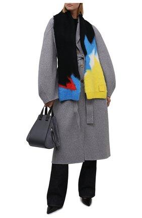 Женский шарф LOEWE черного цвета, арт. F655257X18   Фото 2 (Материал: Текстиль, Синтетический материал)