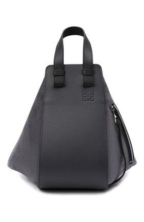 Женская сумка hammock small LOEWE темно-серого цвета, арт. A538S35X17 | Фото 1 (Материал: Натуральная кожа; Размер: small; Сумки-технические: Сумки top-handle; Ремень/цепочка: На ремешке)
