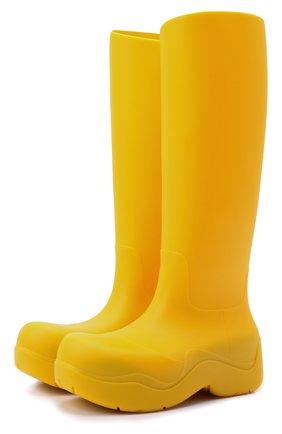 Женские резиновые сапоги bv puddle BOTTEGA VENETA желтого цвета, арт. 667222/V00P0 | Фото 1 (Материал внешний: Резина; Высота голенища: Средние; Подошва: Платформа; Материал внутренний: Текстиль, Натуральная кожа; Каблук тип: Устойчивый; Каблук высота: Средний)