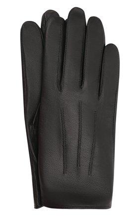 Мужские кожаные перчатки HUGO черного цвета, арт. 50456602 | Фото 1 (Мужское Кросс-КТ: Кожа и замша)