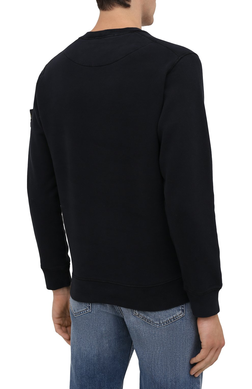 Мужской хлопковый свитшот STONE ISLAND темно-синего цвета, арт. 751563020   Фото 4 (Рукава: Длинные; Принт: Без принта; Длина (для топов): Стандартные; Мужское Кросс-КТ: свитшот-одежда; Материал внешний: Хлопок; Стили: Кэжуэл)