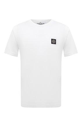 Мужская хлопковая футболка STONE ISLAND белого цвета, арт. 751524113 | Фото 1 (Материал внешний: Хлопок; Принт: Без принта; Рукава: Короткие; Длина (для топов): Стандартные)