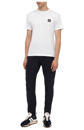 Мужская хлопковая футболка STONE ISLAND белого цвета, арт. 751524113 | Фото 2 (Материал внешний: Хлопок; Принт: Без принта; Рукава: Короткие; Длина (для топов): Стандартные)