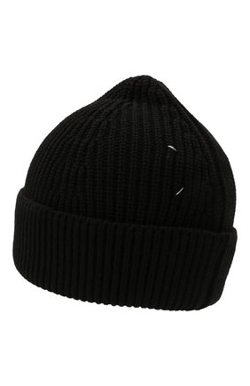 Мужская шапка из хлопка и шерсти MAISON MARGIELA черного цвета, арт. S50TC0051/S17791 | Фото 2 (Материал: Хлопок, Шерсть, Текстиль; Кросс-КТ: Трикотаж)