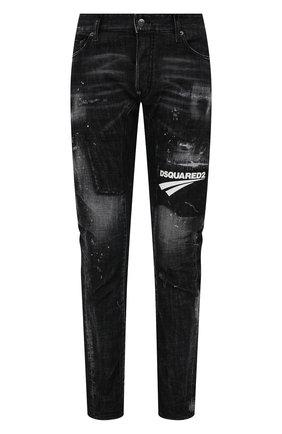 Мужские джинсы DSQUARED2 черного цвета, арт. S74LB0984/S30357   Фото 1 (Длина (брюки, джинсы): Стандартные; Материал внешний: Хлопок; Кросс-КТ: Деним; Детали: Потертости; Силуэт М (брюки): Узкие; Стили: Гранж)