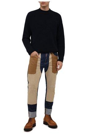 Мужские джинсы DSQUARED2 бежевого цвета, арт. S74LB0950/S30342 | Фото 2 (Материал внешний: Хлопок; Кросс-КТ: Деним; Силуэт М (брюки): Прямые; Стили: Гранж; Длина (брюки, джинсы): Стандартные)
