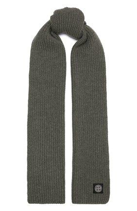 Мужской шерстяной шарф STONE ISLAND хаки цвета, арт. 7515N15B5 | Фото 1 (Материал: Шерсть; Кросс-КТ: шерсть)