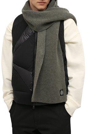 Мужской шерстяной шарф STONE ISLAND хаки цвета, арт. 7515N15B5 | Фото 2 (Материал: Шерсть; Кросс-КТ: шерсть)