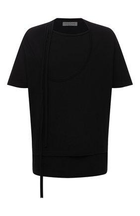 Мужская хлопковая футболка YOHJI YAMAMOTO черного цвета, арт. HX-T43-081 | Фото 1 (Материал внешний: Хлопок; Рукава: Короткие; Длина (для топов): Удлиненные; Принт: Без принта)