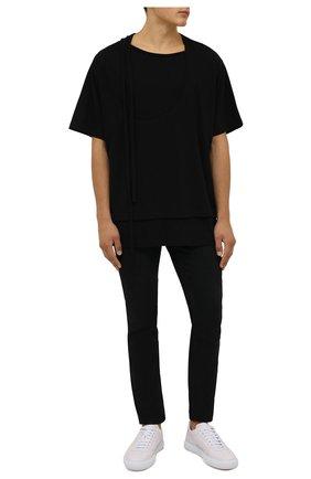 Мужская хлопковая футболка YOHJI YAMAMOTO черного цвета, арт. HX-T43-081 | Фото 2 (Материал внешний: Хлопок; Рукава: Короткие; Длина (для топов): Удлиненные; Принт: Без принта)