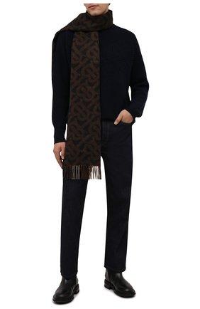 Мужской кашемировый шарф BURBERRY коричневого цвета, арт. 8045178 | Фото 2 (Материал: Шерсть, Кашемир; Кросс-КТ: кашемир)