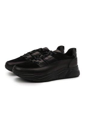 Мужские кожаные кроссовки DOUCAL'S черного цвета, арт. DU2625JUSTPV449NN02 | Фото 1 (Материал внутренний: Текстиль, Натуральная кожа; Подошва: Массивная; Стили: Классический)