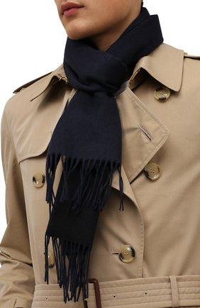 Мужской шарф из кашемира и шерсти BRIONI темно-синего цвета, арт. 031B00/09370/VVIC | Фото 2 (Материал: Кашемир, Шерсть; Кросс-КТ: кашемир)