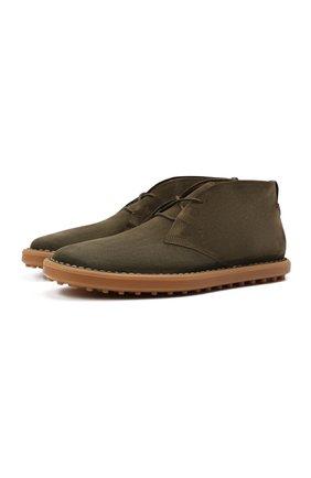 Мужские замшевые ботинки TOD'S хаки цвета, арт. XXM06G0ES50RE0 | Фото 1 (Подошва: Плоская; Материал внутренний: Натуральная кожа; Мужское Кросс-КТ: Ботинки-обувь, Дезерты-обувь; Материал внешний: Замша)