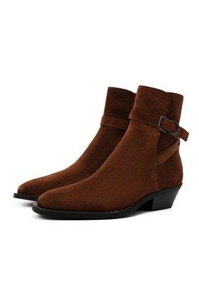 Мужские замшевые казаки TOD'S коричневого цвета, арт. XXM08H0ER90X0F | Фото 1 (Подошва: Плоская; Материал внутренний: Натуральная кожа; Материал внешний: Замша; Мужское Кросс-КТ: Сапоги-обувь, Казаки-обувь)