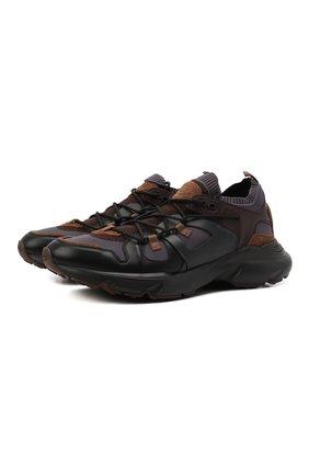 Мужские комбинированные кроссовки TOD'S коричневого цвета, арт. XXM54C0EN00Q88 | Фото 1 (Материал внешний: Текстиль; Материал внутренний: Текстиль; Стили: Гранж; Подошва: Массивная)