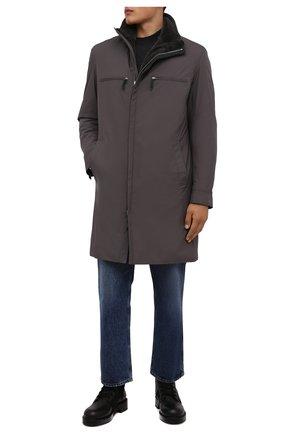 Мужская куртка с меховой подкладкой ANDREA CAMPAGNA серого цвета, арт. 00100H9BF9600 | Фото 2 (Рукава: Длинные; Длина (верхняя одежда): До колена; Материал внешний: Синтетический материал; Кросс-КТ: Куртка; Мужское Кросс-КТ: утепленные куртки; Стили: Кэжуэл)