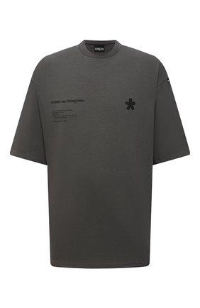 Мужская хлопковая футболка COMME DES FUCKDOWN темно-серого цвета, арт. CDFU1244   Фото 1 (Материал внешний: Хлопок; Длина (для топов): Стандартные; Принт: С принтом; Рукава: Короткие; Стили: Гранж)