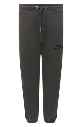 Мужские хлопковые джоггеры COMME DES FUCKDOWN темно-серого цвета, арт. CDFU1234   Фото 1 (Материал внешний: Хлопок; Силуэт М (брюки): Джоггеры; Мужское Кросс-КТ: Брюки-трикотаж; Стили: Спорт-шик; Длина (брюки, джинсы): Стандартные)