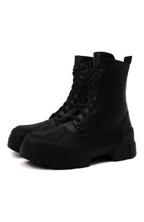 Мужские кожаные ботинки VIC MATIE черного цвета, арт. 1W3051U.V06CANB001 | Фото 1 (Подошва: Массивная; Материал утеплителя: Натуральный мех; Каблук высота: Высокий; Мужское Кросс-КТ: Ботинки-обувь, зимние ботинки, Байкеры-обувь)
