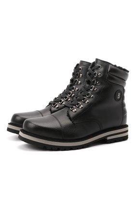 Мужские кожаные ботинки BOGNER черного цвета, арт. 12141823/C0URCHEVEL M 5 B | Фото 1 (Материал утеплителя: Натуральный мех; Подошва: Плоская; Мужское Кросс-КТ: Ботинки-обувь, Хайкеры-обувь, зимние ботинки)