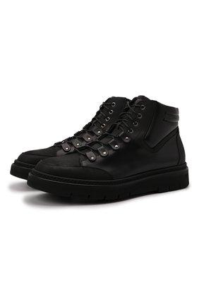 Мужские кожаные ботинки W.GIBBS черного цвета, арт. 0260005/2345 | Фото 1 (Материал утеплителя: Натуральный мех; Подошва: Массивная; Мужское Кросс-КТ: Ботинки-обувь, зимние ботинки)