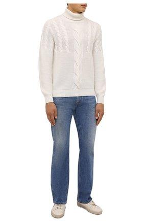 Мужской кашемировый свитер FIORONI кремвого цвета, арт. MK23018D1 | Фото 2 (Материал внешний: Шерсть, Кашемир; Рукава: Длинные; Длина (для топов): Стандартные; Мужское Кросс-КТ: Свитер-одежда; Принт: Без принта)