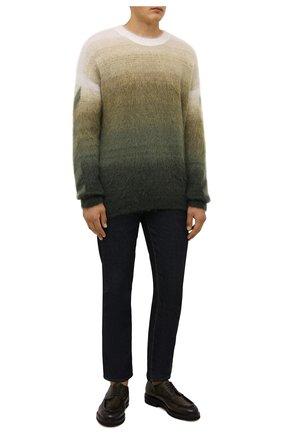 Мужские кожаные дерби W.GIBBS темно-зеленого цвета, арт. 0128013/2303 | Фото 2 (Материал внутренний: Текстиль; Стили: Классический)