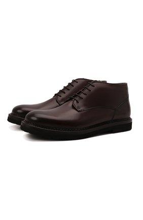 Мужские кожаные ботинки W.GIBBS темно-коричневого цвета, арт. 2035016/2574 | Фото 1 (Материал утеплителя: Натуральный мех; Подошва: Плоская; Мужское Кросс-КТ: Ботинки-обувь, зимние ботинки)