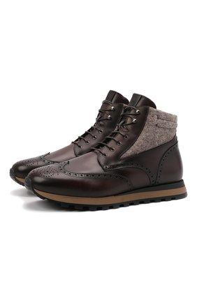 Мужские кожаные ботинки W.GIBBS темно-коричневого цвета, арт. 2639001/2518 | Фото 1 (Материал внешний: Текстиль; Материал утеплителя: Натуральный мех; Подошва: Массивная; Мужское Кросс-КТ: Ботинки-обувь, зимние ботинки)