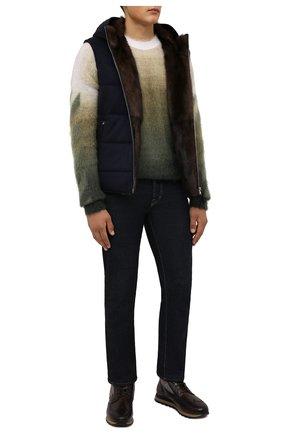 Мужские кожаные ботинки W.GIBBS темно-коричневого цвета, арт. 2639001/2518 | Фото 2 (Материал внешний: Текстиль; Материал утеплителя: Натуральный мех; Подошва: Массивная; Мужское Кросс-КТ: Ботинки-обувь, зимние ботинки)
