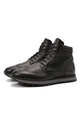 Мужские кожаные ботинки W.GIBBS темно-серого цвета, арт. 2639001/2490 | Фото 1 (Материал внешний: Текстиль; Материал утеплителя: Натуральный мех; Подошва: Плоская; Мужское Кросс-КТ: Ботинки-обувь, зимние ботинки)