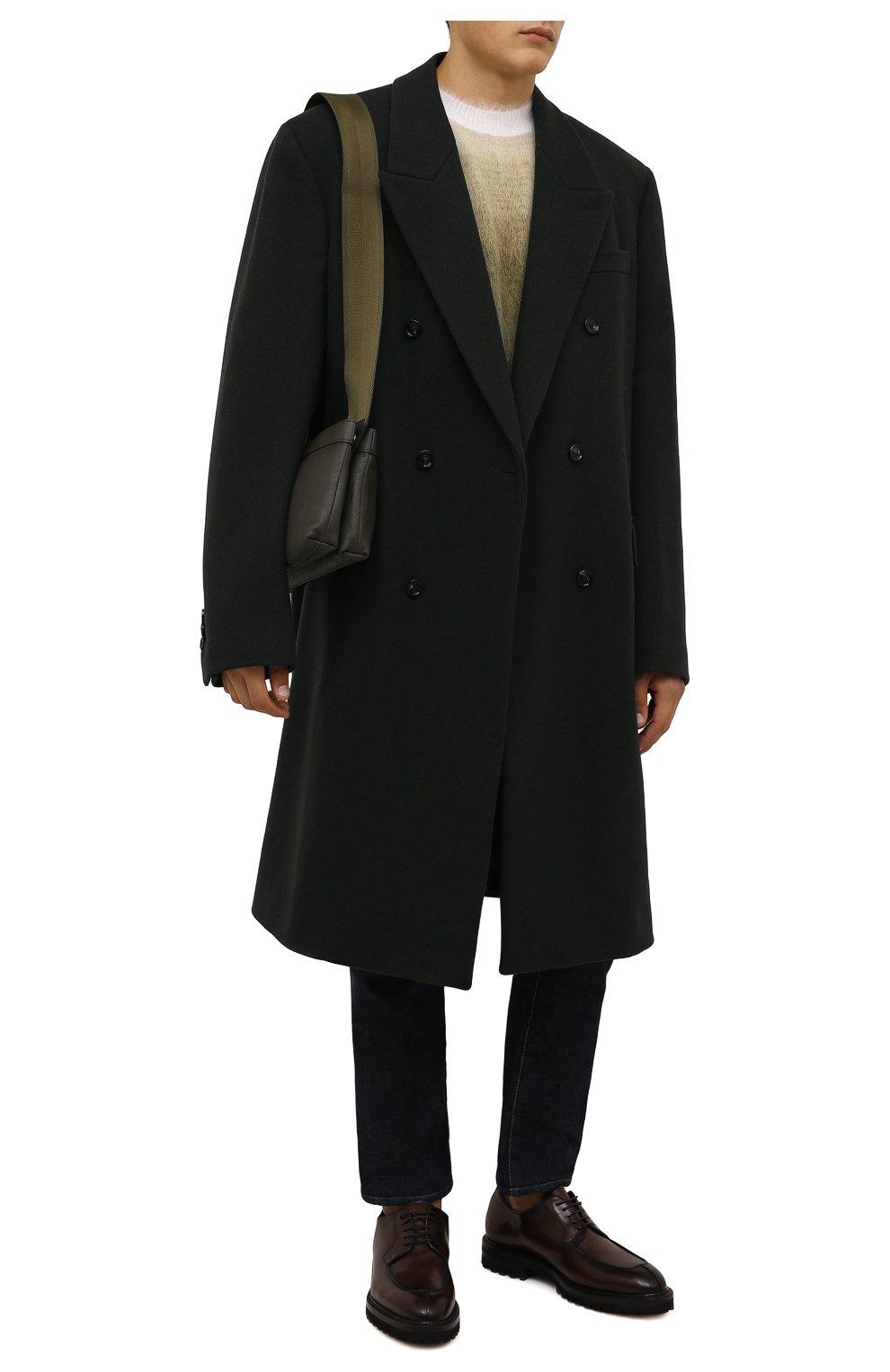 Мужские кожаные дерби W.GIBBS темно-коричневого цвета, арт. 7260009/2573   Фото 2 (Материал утеплителя: Натуральный мех; Стили: Классический)