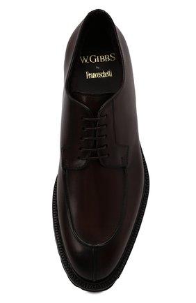 Мужские кожаные дерби W.GIBBS темно-коричневого цвета, арт. 7260009/2573   Фото 5 (Материал утеплителя: Натуральный мех; Стили: Классический)