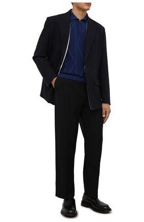 Мужское шерстяное поло SVEVO синего цвета, арт. 13102SA21/MP13 | Фото 2 (Материал внешний: Шерсть; Рукава: Длинные; Застежка: Молния; Стили: Кэжуэл; Кросс-КТ: Трикотаж; Длина (для топов): Стандартные)