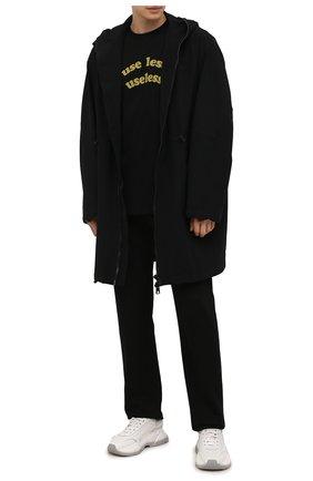 Мужская хлопковая футболка DIESEL черного цвета, арт. A03290/0GRAA | Фото 2 (Длина (для топов): Стандартные; Рукава: Короткие; Материал внешний: Хлопок; Принт: С принтом; Стили: Гранж)