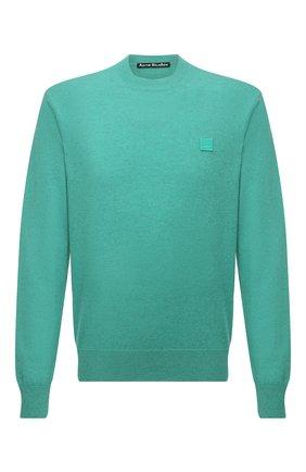 Мужской шерстяной свитер ACNE STUDIOS зеленого цвета, арт. C60035/M   Фото 1 (Длина (для топов): Стандартные; Рукава: Длинные; Материал внешний: Шерсть; Мужское Кросс-КТ: Свитер-одежда; Принт: Без принта; Стили: Минимализм)