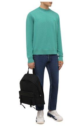 Мужской шерстяной свитер ACNE STUDIOS зеленого цвета, арт. C60035/M   Фото 2 (Длина (для топов): Стандартные; Рукава: Длинные; Материал внешний: Шерсть; Мужское Кросс-КТ: Свитер-одежда; Принт: Без принта; Стили: Минимализм)