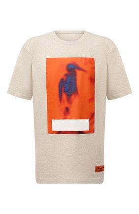 Мужская хлопковая футболка HERON PRESTON серого цвета, арт. HMAA026F21JER0050822 | Фото 1 (Материал внешний: Хлопок; Принт: С принтом; Длина (для топов): Удлиненные; Рукава: Короткие)
