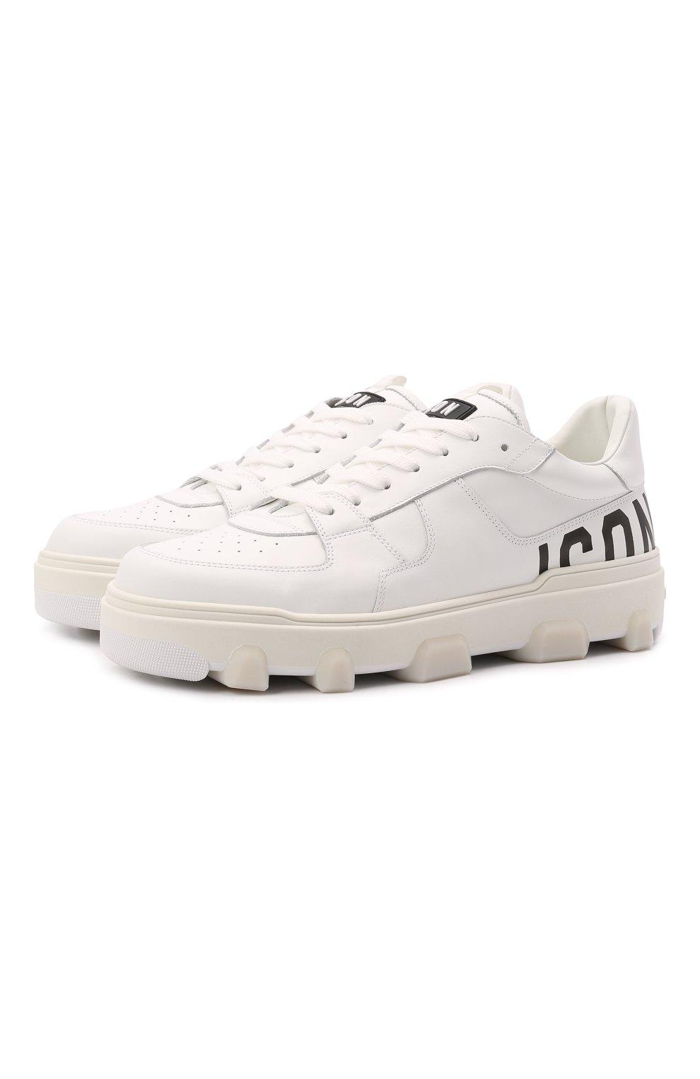 Мужские кожаные кеды basket DSQUARED2 белого цвета, арт. SNM0185 01500001 | Фото 1 (Материал внутренний: Натуральная кожа; Подошва: Массивная)