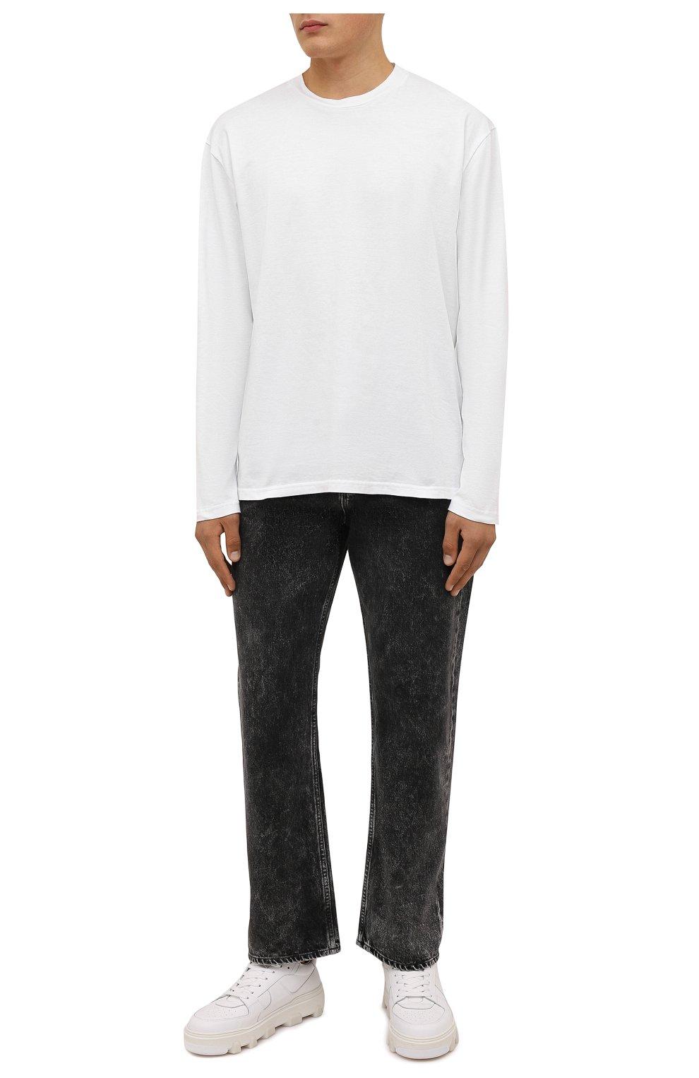 Мужские кожаные кеды basket DSQUARED2 белого цвета, арт. SNM0185 01500001 | Фото 2 (Материал внутренний: Натуральная кожа; Подошва: Массивная)