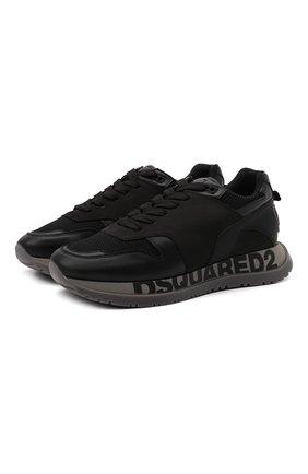 Мужские комбинированные кроссовки DSQUARED2 черного цвета, арт. SNM0213 01503280 | Фото 1 (Подошва: Массивная; Материал внутренний: Текстиль, Натуральная кожа; Материал внешний: Текстиль; Стили: Гранж)