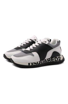 Мужские комбинированные кроссовки DSQUARED2 белого цвета, арт. SNM0213 01503280 | Фото 1 (Материал внутренний: Натуральная кожа, Текстиль; Материал внешний: Текстиль; Стили: Гранж; Подошва: Массивная)