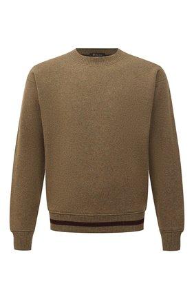 Мужской кашемировый свитер LORO PIANA хаки цвета, арт. FAL8486 | Фото 1 (Материал внешний: Кашемир, Шерсть; Рукава: Длинные; Длина (для топов): Стандартные; Мужское Кросс-КТ: Свитер-одежда; Принт: Без принта)