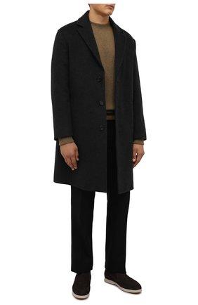 Мужской кашемировый свитер LORO PIANA хаки цвета, арт. FAL8486 | Фото 2 (Материал внешний: Кашемир, Шерсть; Рукава: Длинные; Длина (для топов): Стандартные; Мужское Кросс-КТ: Свитер-одежда; Принт: Без принта)