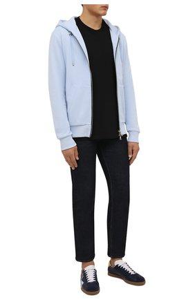Мужские кожаные кеды LANVIN темно-синего цвета, арт. FM-SKDL0N-NAPD-A21 | Фото 2 (Подошва: Плоская; Материал внутренний: Натуральная кожа)