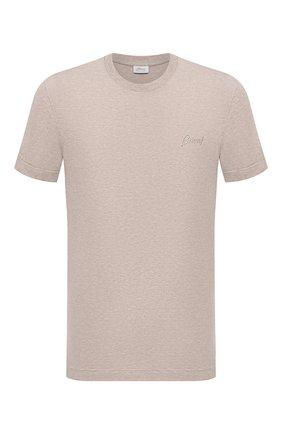 Мужская хлопковая футболка BRIONI светло-бежевого цвета, арт. UJCH0L/01636 | Фото 1 (Материал внешний: Хлопок; Длина (для топов): Стандартные; Рукава: Короткие; Принт: Без принта)