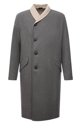 Мужской пальто из кашемира и шерсти GIORGIO ARMANI серого цвета, арт. 1WG0L07R/T02S0 | Фото 1 (Длина (верхняя одежда): До колена; Материал подклада: Синтетический материал; Рукава: Длинные; Материал внешний: Кашемир, Шерсть; Мужское Кросс-КТ: пальто-верхняя одежда; Стили: Кэжуэл)